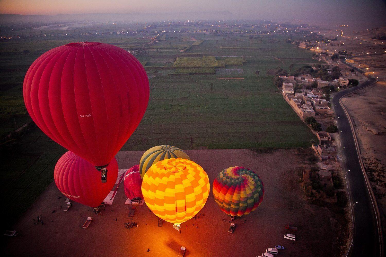 Hot air balloon in luxor, balloon ride Egypt. Luxor balloon ride