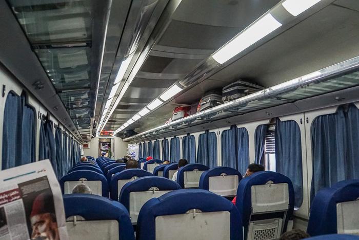 seated train egypt aswan-luxor, egypt budget tour