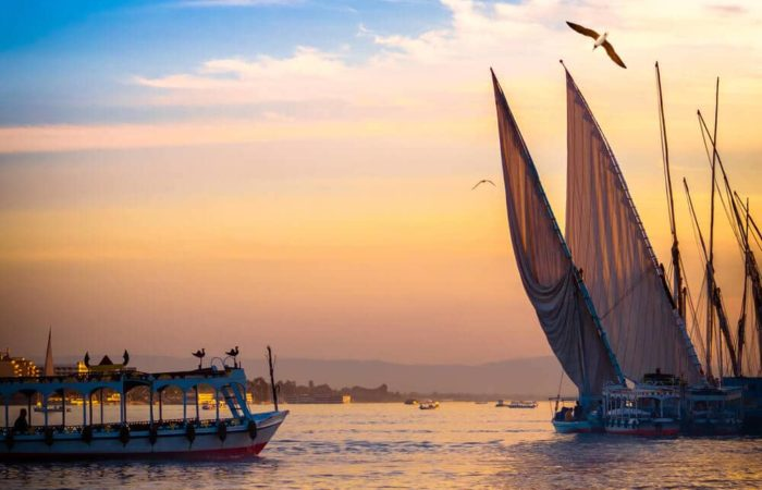 Felucca sailing, Nile, Aswan, Cairo
